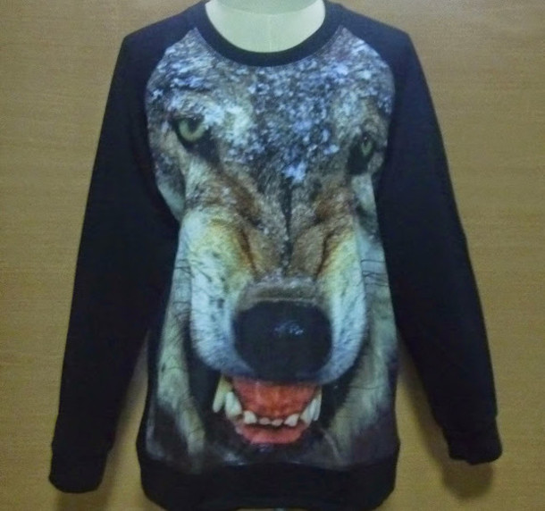 sweater crewneck wolf printed sweater