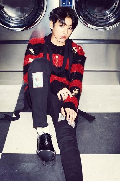 sweater bts jungkook kpop k-style K-pop korean fashion menswear menswear tumblr ripped ulzzang kstyle bangtan boys korean fashion korean style korean celebrities