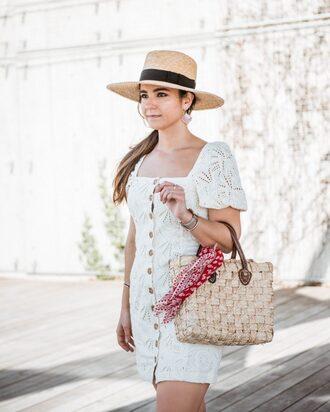 dress white dress bag hat bracelets beige bag mini dress