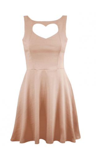 Nude cut out heart dress