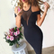 Mesh plunge v neck bardot midi bandage dress black