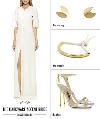 bklyn bride blogger dress wedding accessories gold earrings ankle strap heels slit dress
