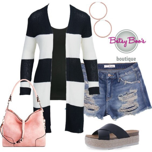 cardigan stripes outfit outfit idea summer summer outfits fall outfits women stylish style chic trendy black white black and white