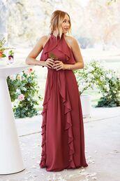 dress,tumblr,wedding guest,maxi dress,long dress,burgundy,burgundy dress,ruffle,ruffle dress,cocktail dress,cocktail