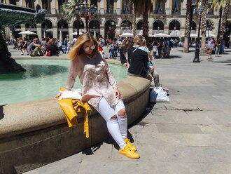 shoes yellow jacket white jeans pink shirt long shirt leather jacket pink sunglasses white clutch cropped jeans high rise jeans satin shirt jacket zara yellow sneaker converse
