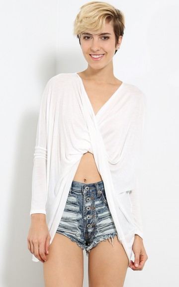 V Neck Twisted Wrap Top | MakeMeChic.com