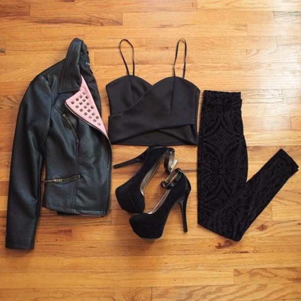jacket clothes stud studded zip style chic posh collar biker luxury pants