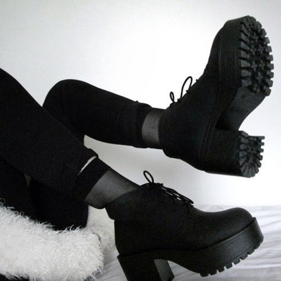 shoes platform grunge black shoes boots