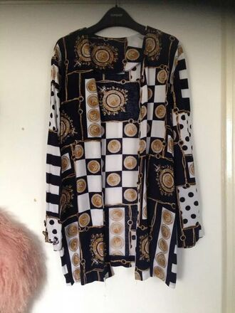 black and white blouse blouse versace printed blouse kimono vintage blouse