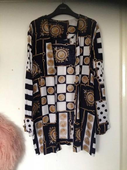 kimono blouse versace printed blouse black and white blouse vintage blouse