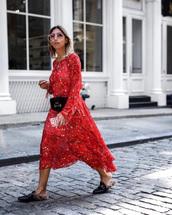 dress,tumblr,floral,floral dress,midi dress,red dress,shoes,mules,belt bag,fanny pack