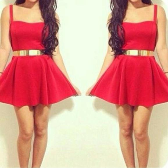 Belt dress red gold red dress ceinture