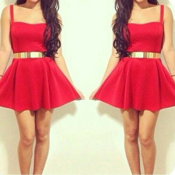 dress red gold belt red dress ceinture