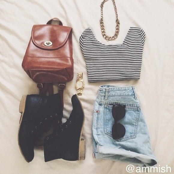 shirt shorts bag leather bag stripes boots necklace gold watch shades shoes