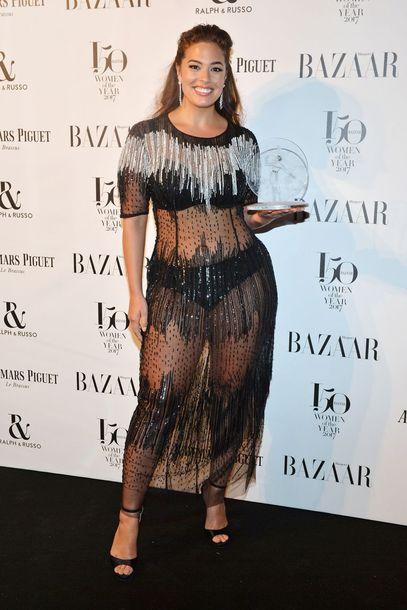 dress sheer see through dress ashley graham curvy plus size dress model off-duty sandals gown prom dress