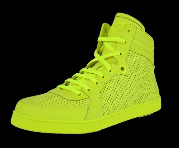 New Gucci Men's 322730 Neon Yellow Hi High Top Leather Sneakers Shoes 13 5 14 | eBay