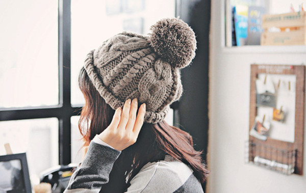 hat beanie winter outfits pom pom grey warm pom pom beanie hipster wishlist