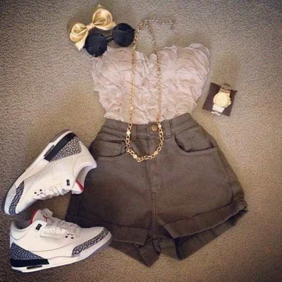 shoes sneakers shirt top floral crop tops strapless jeans shorts blouse pink ruffles sleeveless bustier High waisted shorts jordans jewels hair jewellery watch sunglasses