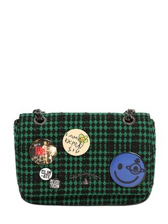 plaid bag wool green