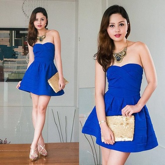 dress blue dress dark blue mini dress mini prom dress summer summer outfits necklace jewels bag shoes style blue summer dress