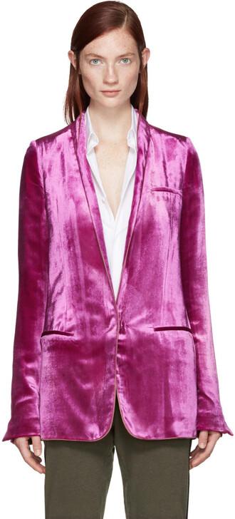 blazer velvet pink jacket