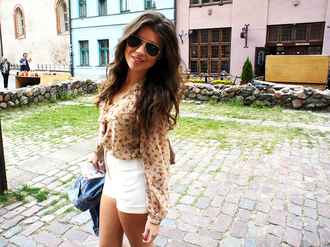 blouse top glasses sunglasses rayban shorts white shorts white shirt brown blouse girl outfit tumblr