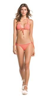 top,agua bendita,bikini bottoms,bikini top,cheeky,coral,halter top,latina,pink,triangle,pink bikini,bikiniluxe