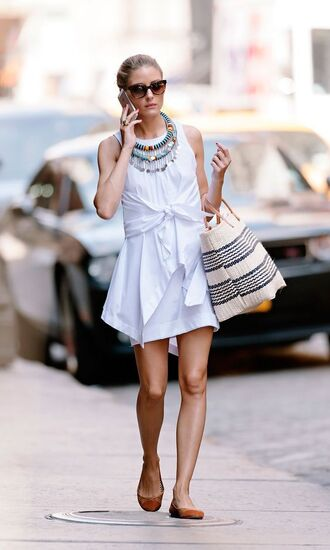 dress brown ballet white tie front shirt dress tie front shirt dress tribal necklace wayfarer brown wayferer olivia palermo white dress shirt dress white shirt dress basket bag beach bag tie front