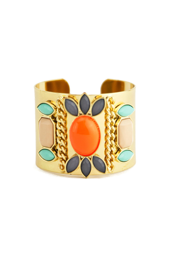 COLORED STONES CUFF - Orange | Haute & Rebellious