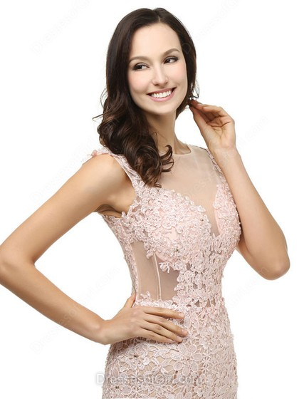 Expensive Scoop Neck Tulle Appliques Lace Trumpet/Mermaid Prom Dresses - dressesofgirl.com