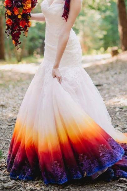 dress ombre dress wedding dress white dress ombre