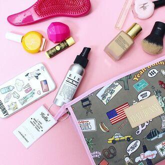 make-up yeah bunny bag american dream american flag makeup bag cosmetics bag new york city usa cute girly cosmetics