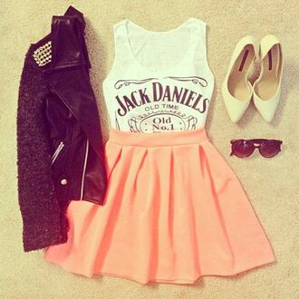 jacket skirt tank top top print high heels sunglasses cute coral t-shirt jack daniel's orange black shoes blouse shirt leather jacket jack daniels top shoes high waisted skirt black leather jacket white t-shirt pink skirt black sunglasses underwear jack daniels shirt coat dress peach skirt jack daniels tank top corail mini skirt white peach singlet white tank top jack deniel girly ootd summer outfits clothes hipster trendy cool party style swag women girl instagram studs studded date outfit on point clothing skater skirt outfit outfit idea tumblr outfit rock pop punk punk punk jacket girly outfits tumblr