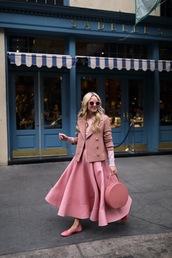 atlantic pacific,blogger,skirt,top,sweater,coat,bag,pink skirt,maxi skirt,flats,ballet flats,pink bag,pink jacket,all pink everything,pink winter outfit