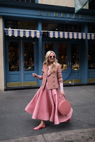 atlantic pacific blogger skirt top sweater coat bag pink skirt maxi skirt flats ballet flats pink bag pink jacket all pink everything pink winter outfit
