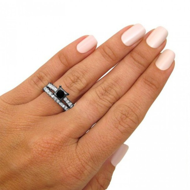 Jewels Evolees Ladies Cool Princess Cut Black Diamond Engagement Ring Bridal Set With
