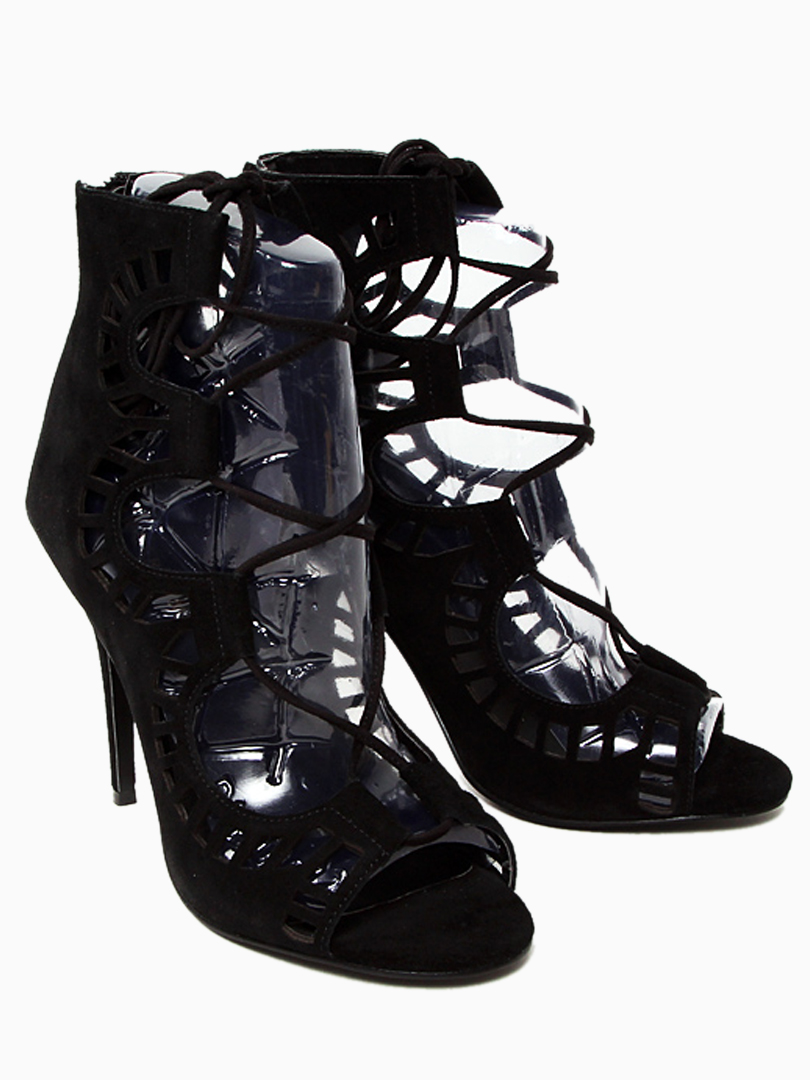 Black Suede Peep Toe Tie Up Sandals - Choies.com