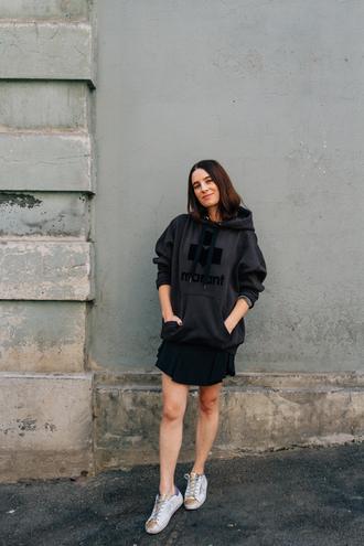 sweater black skirt tumblr hoodie grey hoodie skirt mini skirt sneakers white sneakers athleisure