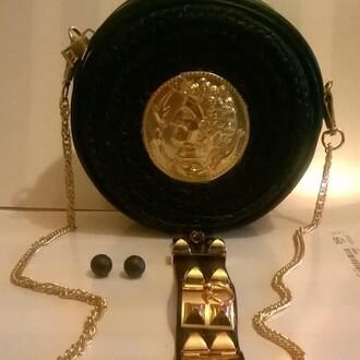 bag coin bag medussa dolce and gabbana raffia shoulder bag black bag round bag