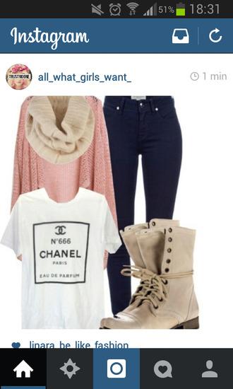 chanel t-shirt t-shirt print whiteshirt scarf cardigan