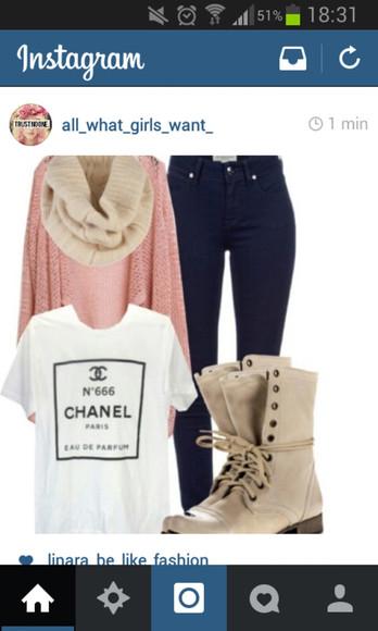 t-shirt chanel t-shirt scarf print whiteshirt cardigan