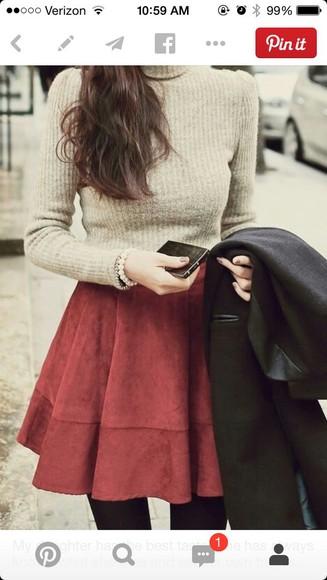 burgundy style skirt fashion