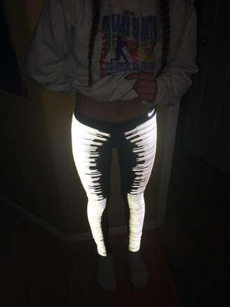 nike nike sportswear leggings workout leggings gym gym clothes glow in the dark neon nike leggings black leggings funny