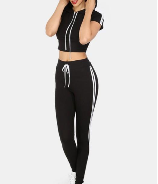 Girl Girly Girly Wishlist Joggers Black White Crop Crop Tops Cropped Cute Trendy