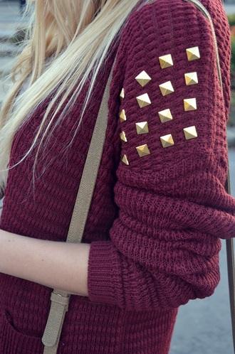 sweater gold burgundy stud studs red knitwear knitwear gold studs jumper cardigan pockets