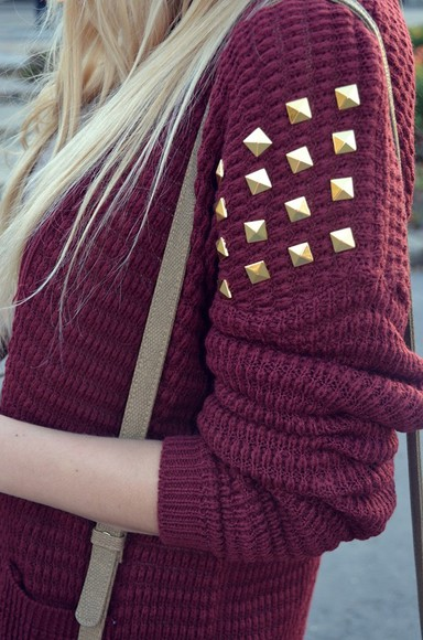 knitted cardigan sweater knit red jumper stud studs studded maroon gold gold studs pockets