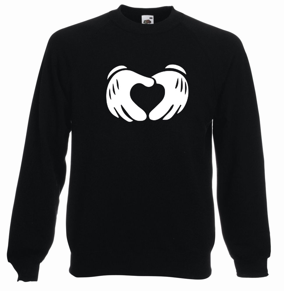 MICKEY MOUSE HEART HANDS CREW NECK SWEATSHIRT JUMPER TOP SWAG OBEY SWEATER SHOP | eBay