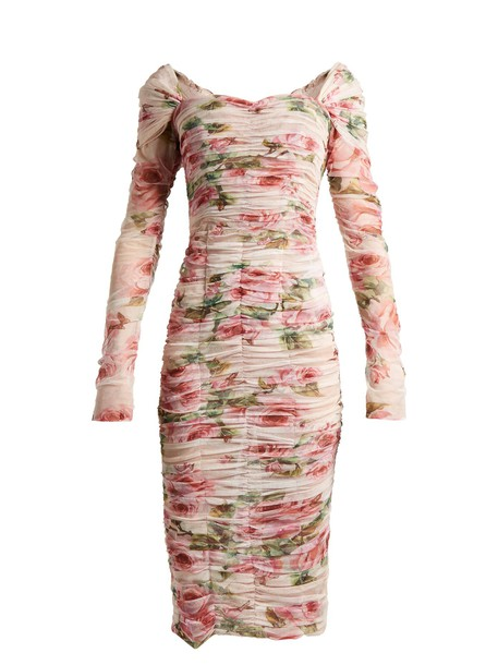Dolce & Gabbana dress tulle dress rose print pink
