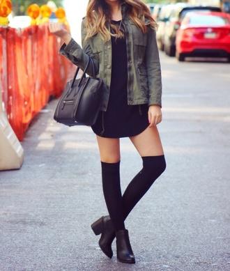 black t-shirt dress boots denim shirt socks