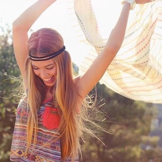 shirt hippie headband hair hair accessory colorful t-shirt watch summer accessories accessory boho hair band